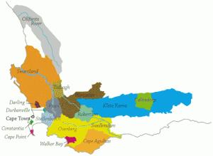 importateur de vins d'Afrique du sud - Carte du Vignoble Afrique du Sud